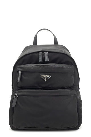 Prada Ovetto Logo Plaque Backpack
