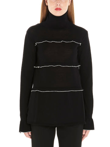 Red Valentino Frill Detail Turtleneck Sweater