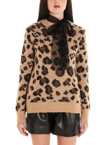 Red Valentino Animal Print Pussy Bow Detail Sweater