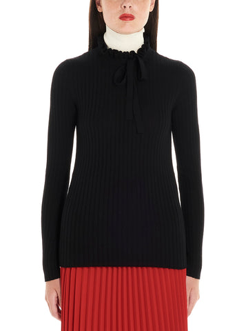 Red Valentino Bow Detail High Neck Sweater