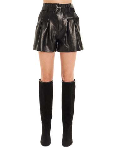Red Valentino Belted Leather Shorts