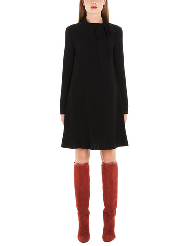 Red Valentino Pussybow Flare Dress