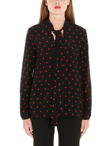 Red Valentino Heart Print Pussybow Blouse