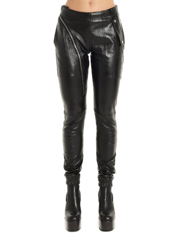 Rick Owens Slim Fit Zip Detail Pants