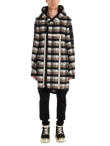 Rick Owens Hooded Check Coat