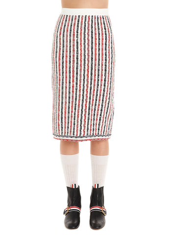 Thom Browne Wide University Striped Midi Skirt