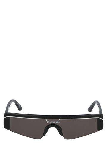 Balenciaga Logo Print Rectangle Frame Mask Sunglasses
