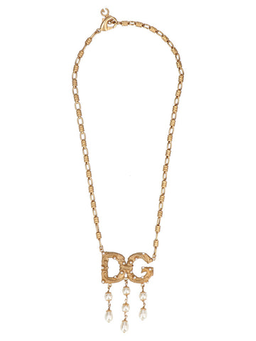 Dolce & Gabbana Pearl And Logo Necklace
