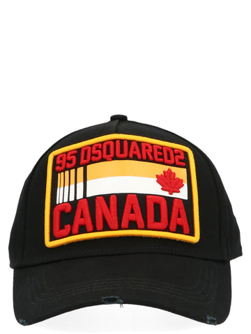 Dsquared2 Logo Patch Distressed Effect Baseball Cap