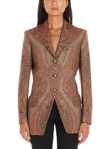 Etro Buttoned Paisley Printed Blazer