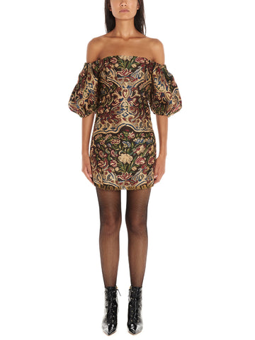 Etro Embroidered Off-The Shoulder Mini Dress