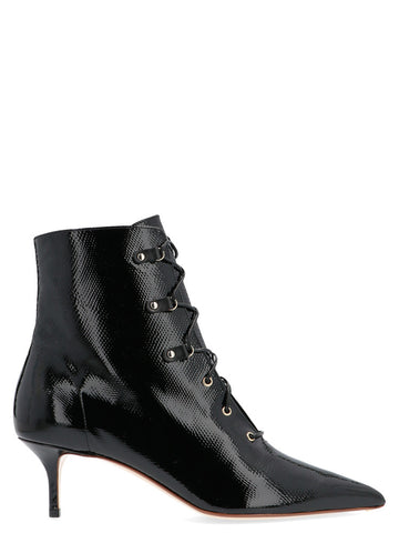 Francesco Russo Pointed Toe Lace Up Ankle Boots