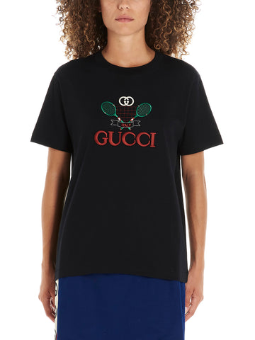 Gucci Tennis Logo Embroidered T-Shirt