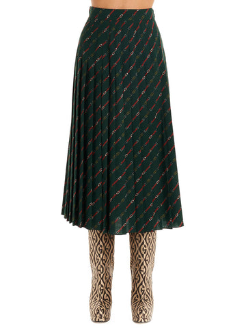 Gucci Motif Printed Pleated Skirt