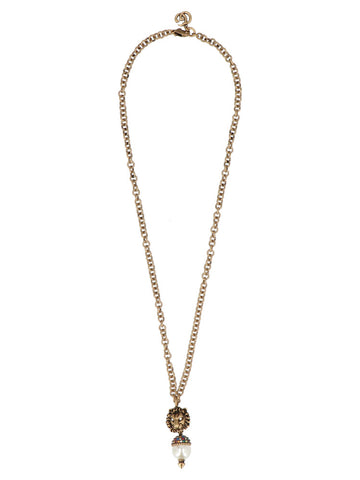 Gucci Lion Head Pearl Pendant Necklace