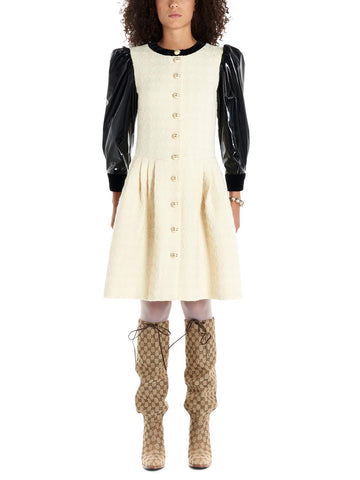 Gucci Buttoned Contrast Sleeves Mini Dress