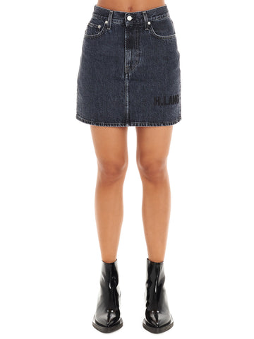 Helmut Lang Logo Embroidered Denim Mini Skirt