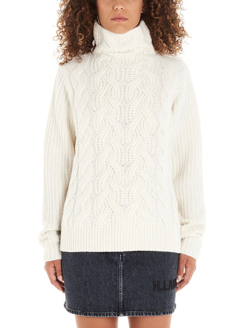 Helmut Lang High Neck Braided Effect Sweater