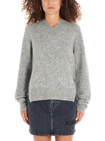 Helmut Lang V Neck Brushed Knitted Sweatshirt