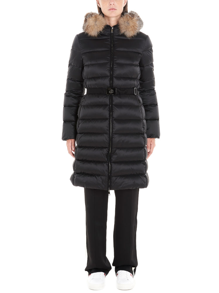 Moncler Coats MONCLER BELTED FUR TRIMMED HOODED COAT
