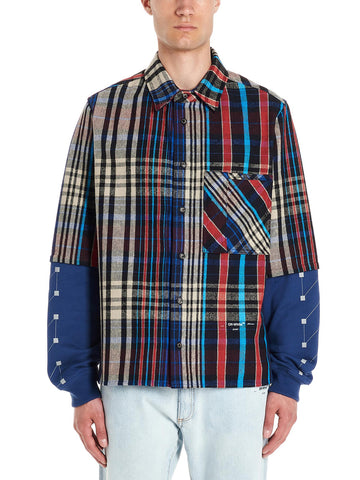 Off-White Graphic Printed Contrasting Checked Shirt