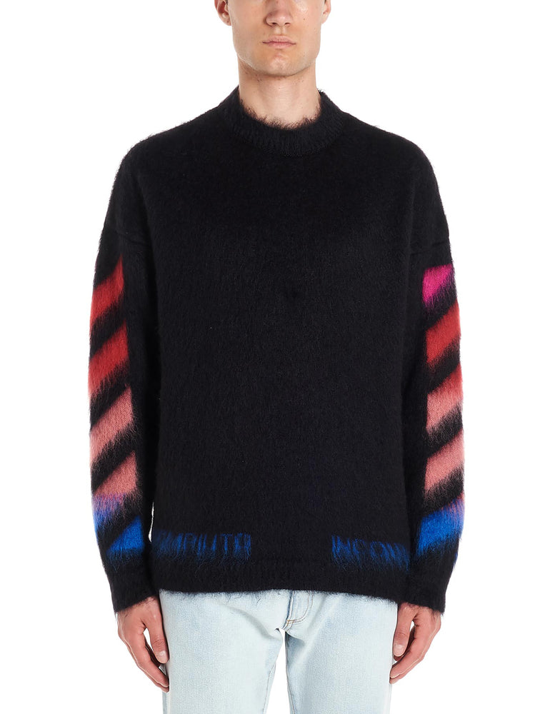 Off-White Diag Brushed Mohair Sweater