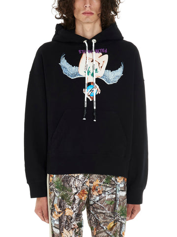 Palm Angels Graphic Print Drawstring Hoodie