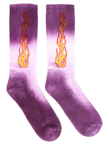 Palm Angels Flames Motif Printed Tie-Dye Socks