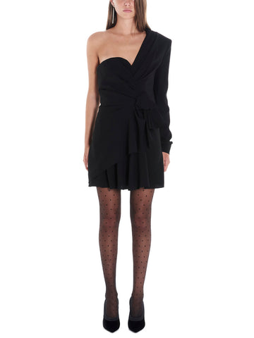 Saint Laurent Draped One Shouldered Mini Dress