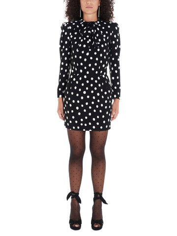 Saint Laurent Polka Dot Pussy Bow Dress