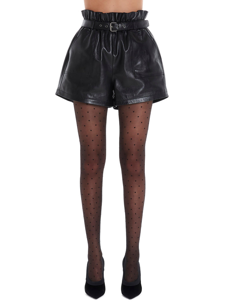 Saint Laurent Belted Leather Shorts