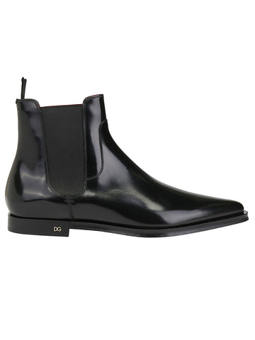 Dolce & Gabbana Pointed-Toe Ankle Boots