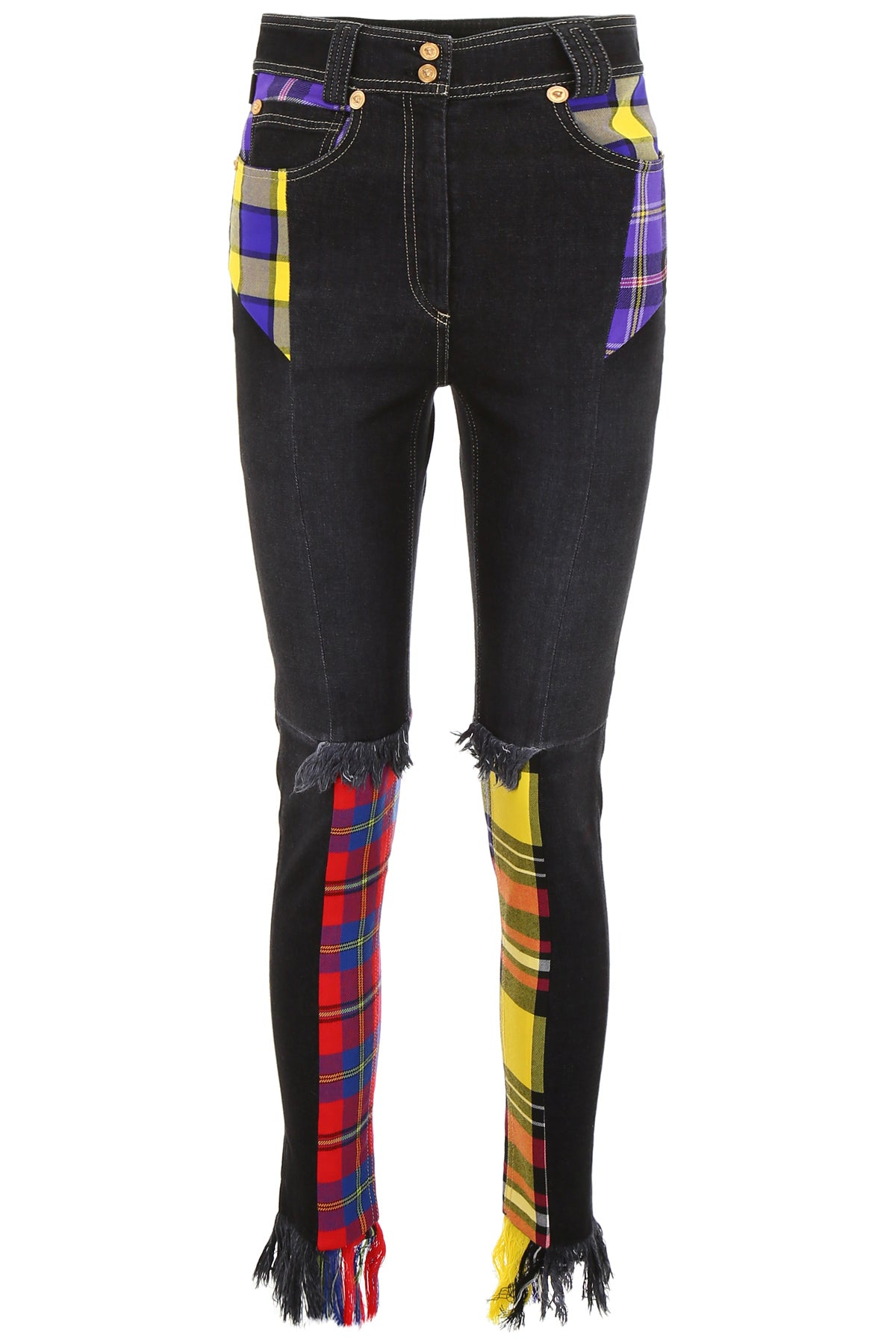 Versace High Waisted Plaid Patch Cotton In Black