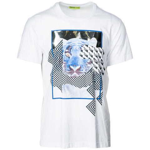Versace Jeans Tiger Print Laminated Effect T-Shirt