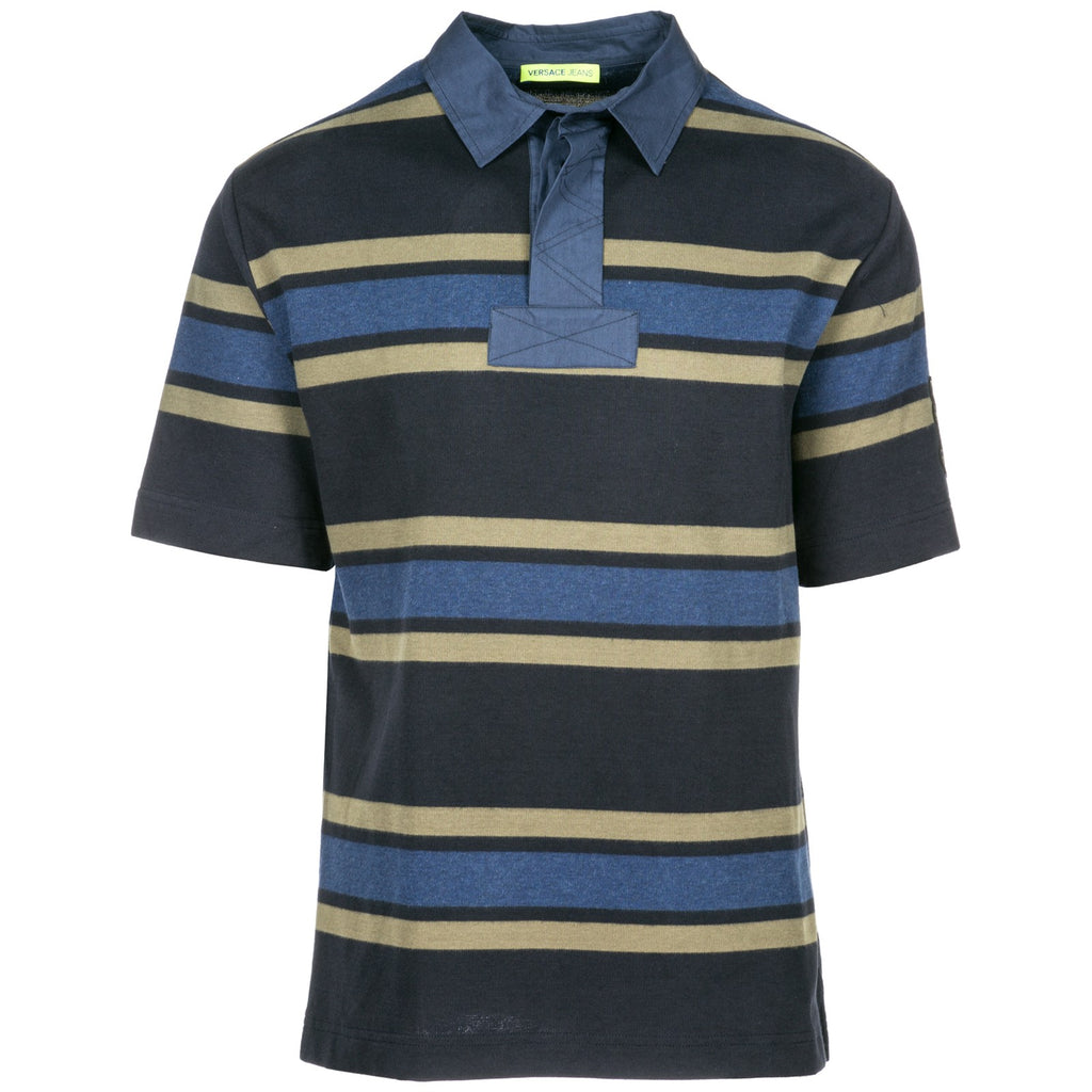 227d9bf41f10ff Versace Jeans Polo Collar Striped T-Shirt – Cettire