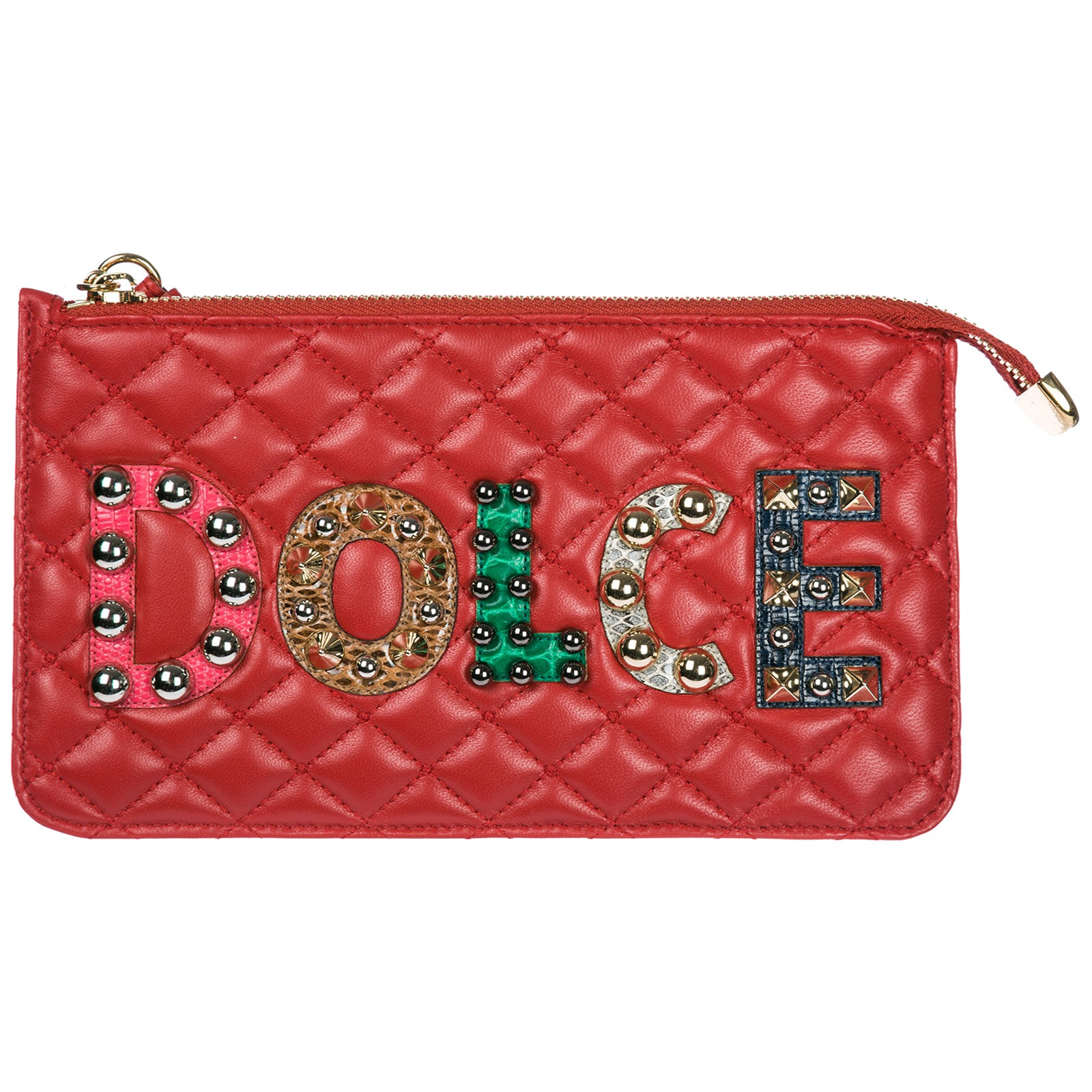 Dolce & Gabbana Quilted Logo Pouch, Red