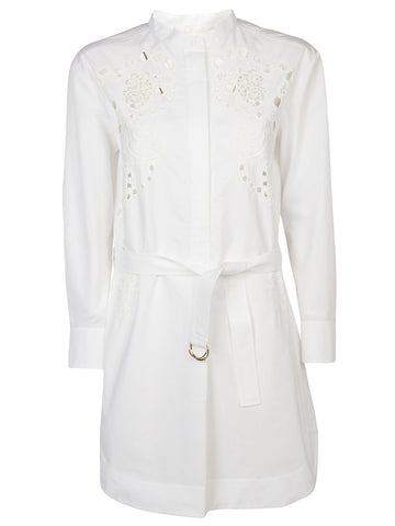 Chloé Embroidered Front Shirt Dress