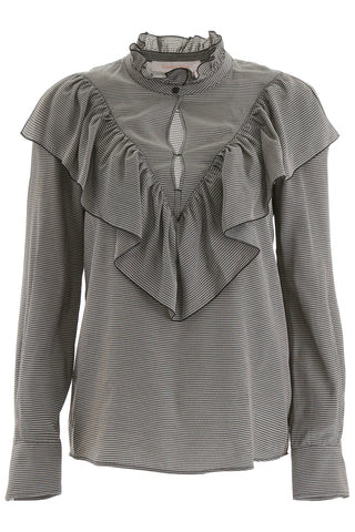 See By Chloé Houndstooth Ruffled Trim Blouse