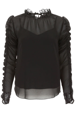 See By Chloé Rouched Detail Semi-Sheer Blouse