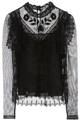 See By Chloé Lace Insert Mesh Blouse
