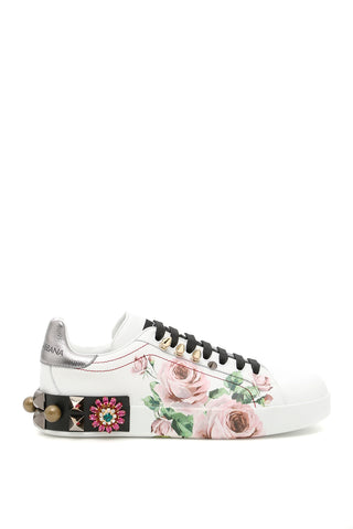 Dolce & Gabbana Rose Printed Leather Sneakers