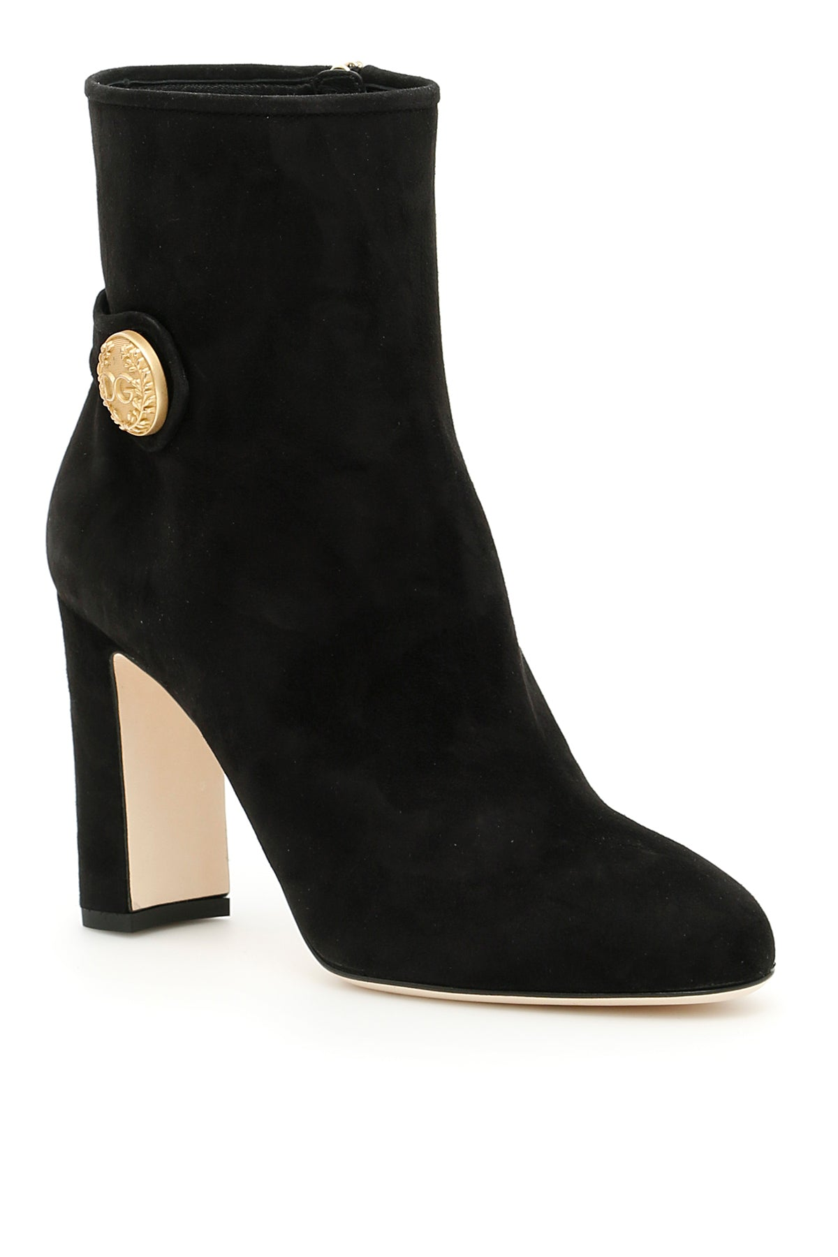 DOLCE & GABBANA SUEDE BUTTON EMBELLISHED BOOTS