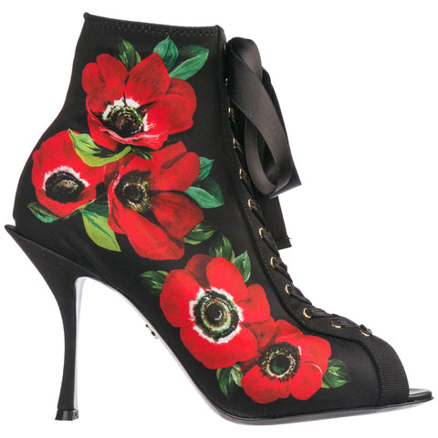 Dolce & Gabbana Floral Print Open Toe Heeled Boots