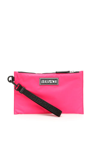 Versace Logo Nylon Clutch Bag