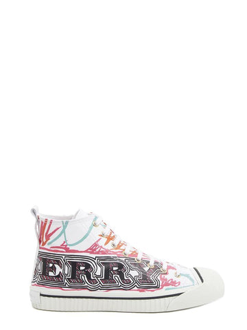 Burberry Graffiti Logo Hi Top Sneakers