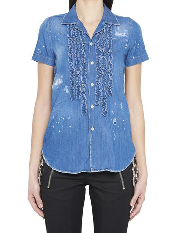 Dsquared2 Ruffled Short Sleeve Denim Shirt