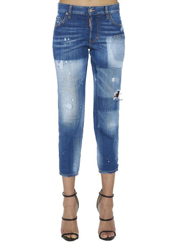 Dsquared2 Patchwork Cropped Denim Jeans