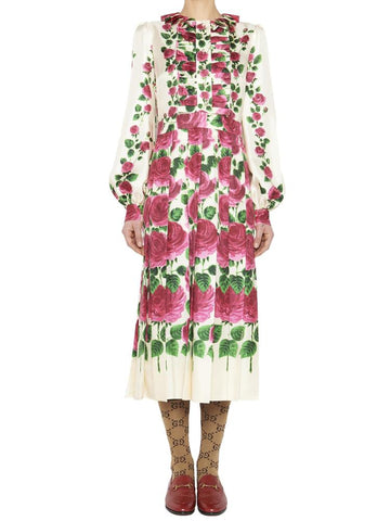 Gucci Pleated Rose Print Ruffle Dress
