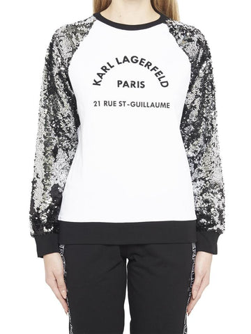 Karl Lagerfeld Sequin Sleeve Sweatshirt