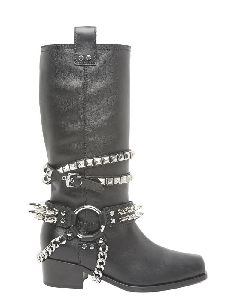 MOSCHINO STUDDED LEATHER BOOTS
